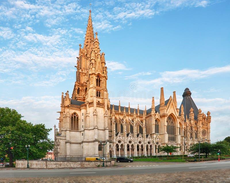 Cattedrale a Bruxelles, Notre Dame nel Belgio, vista frontale fotografia stock