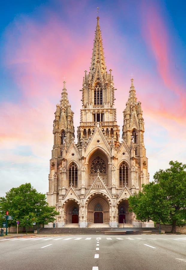 Cattedrale a Bruxelles, Notre Dame nel Belgio, vista frontale immagine stock libera da diritti