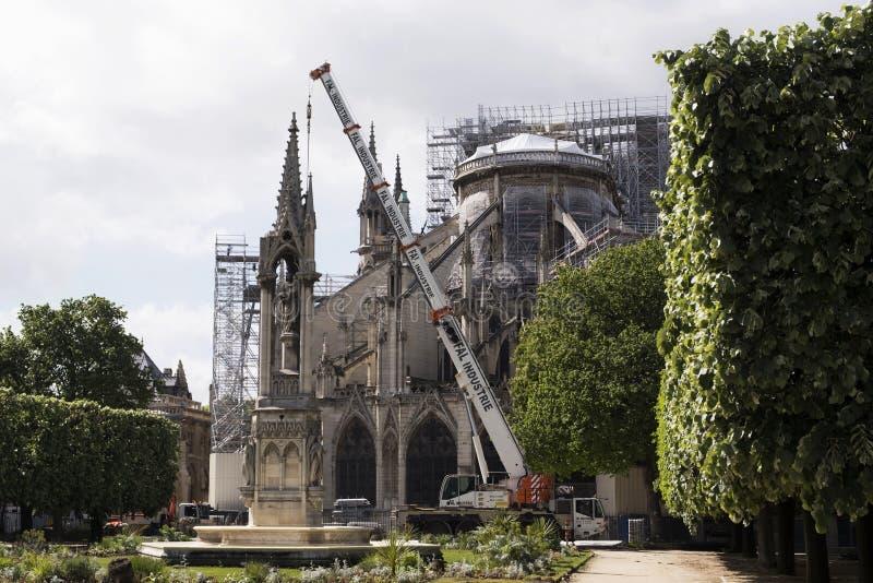 Cattedrale cattolica medievale dopo il fuoco, retrovisione del Notre-Dame de Paris Lavoro di ristrutturazione fotografia stock libera da diritti