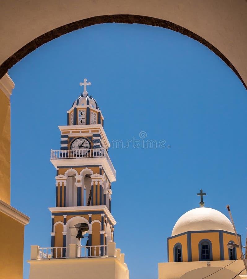 Cattedrale cattolica in Santorini, Grecia fotografie stock