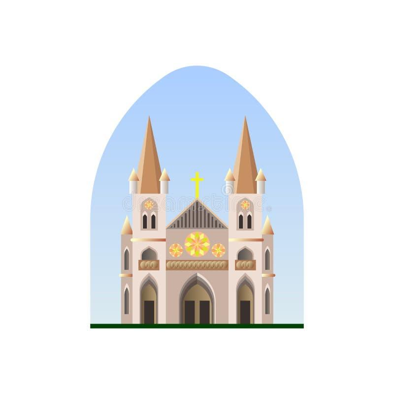 Cattedrale cristiana Tempio cristiano Chiesa cattolica illustrazione vettoriale