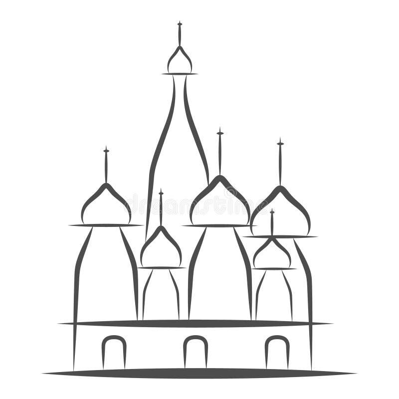 Cattedrale del basilico s della st, quadrato rosso, Mosca, Russia Illustrazione di vettore, royalty illustrazione gratis