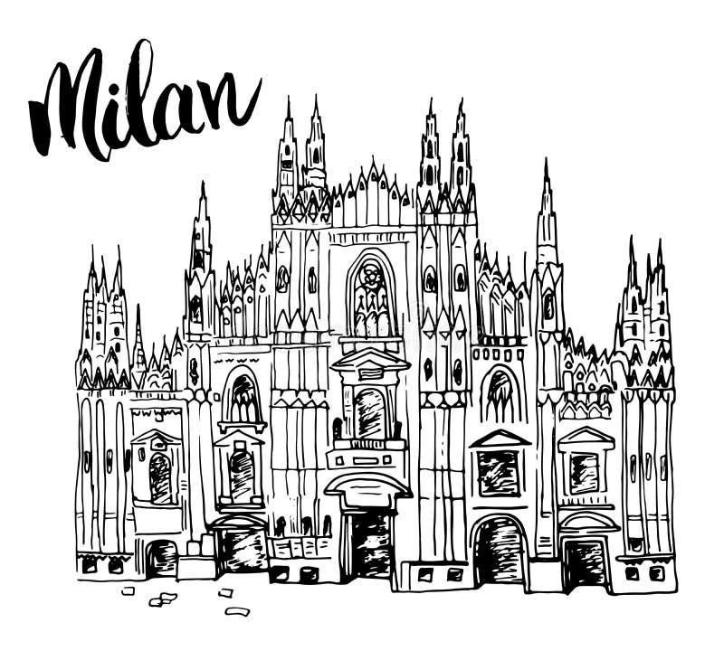 Cattedrale del Duomo a Milano, Italia Schizzo disegnato a mano della costruzione di chiesa famosa italiana con l'iscrizione di Mi royalty illustrazione gratis