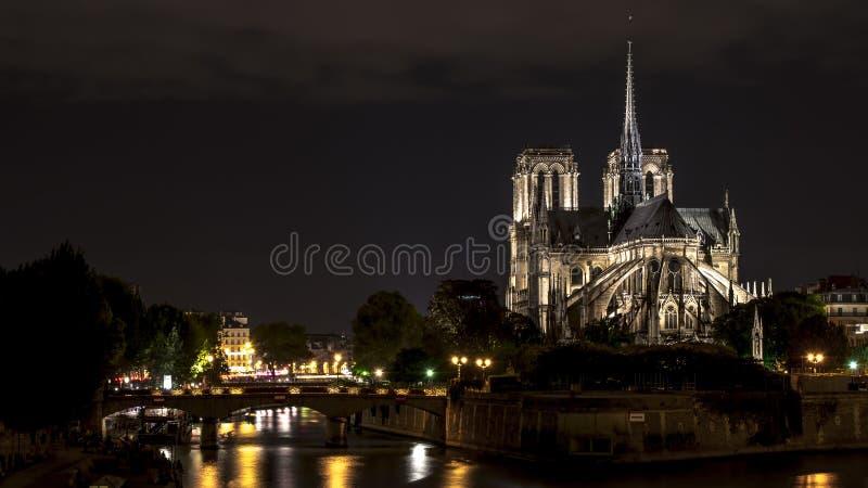 Cattedrale del Notre Dame a Parigi alla notte immagini stock libere da diritti
