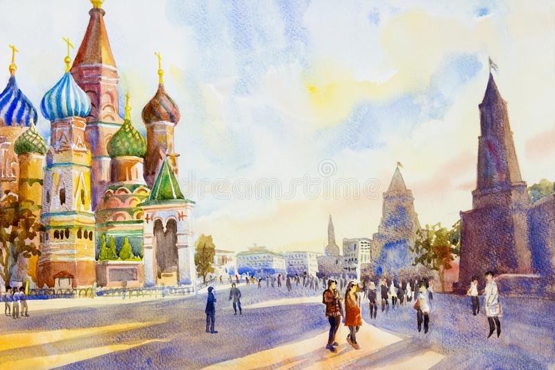Cattedrale del quadrato del basilico della st in rosso a Mosca illustrazione di stock