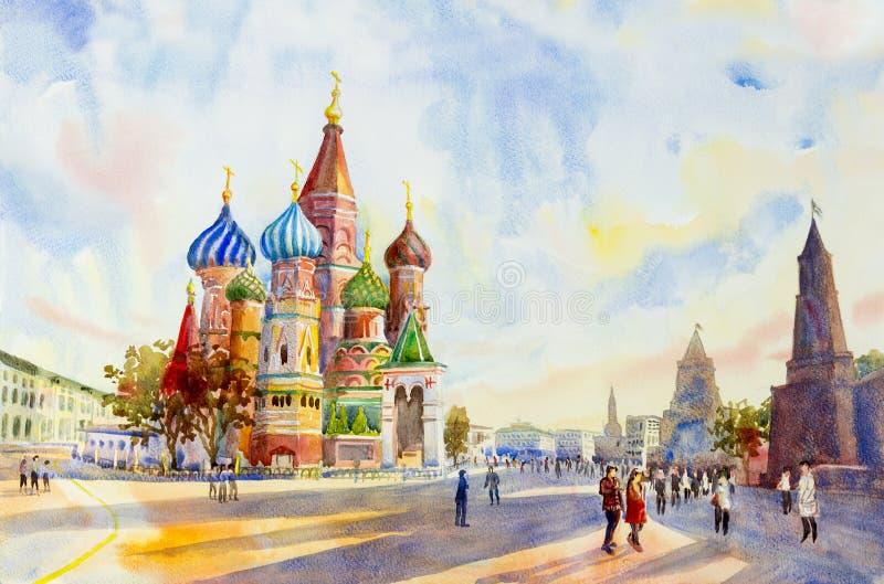 Cattedrale del quadrato Russia del basilico della st in rosso royalty illustrazione gratis
