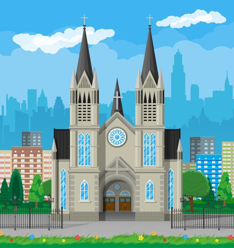 Cattedrale della chiesa cattolica con gli orizzonti della città illustrazione di stock