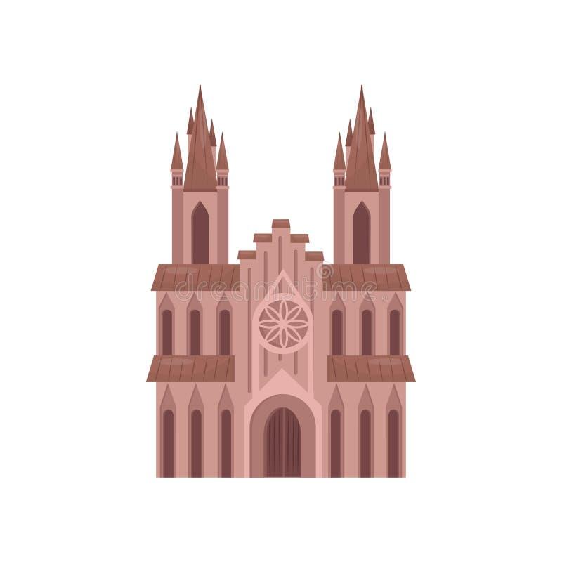 Cattedrale della chiesa cattolica, illustrazione di vettore della costruzione del tempio su un fondo bianco illustrazione vettoriale