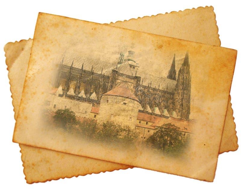 Cattedrale della st Vitus sulla cartolina immagini stock