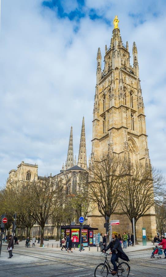 Cattedrale di Andre del san, torre di Pey Berland Bell, Bordeaux, Francia fotografia stock