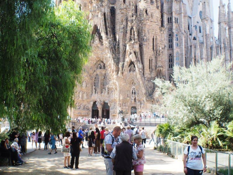 Cattedrale di Antonio Gaudi a Barcellona, Catalunya immagini stock