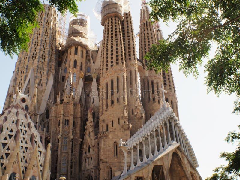 Cattedrale di Antonio Gaudi a Barcellona, Catalunya fotografie stock libere da diritti