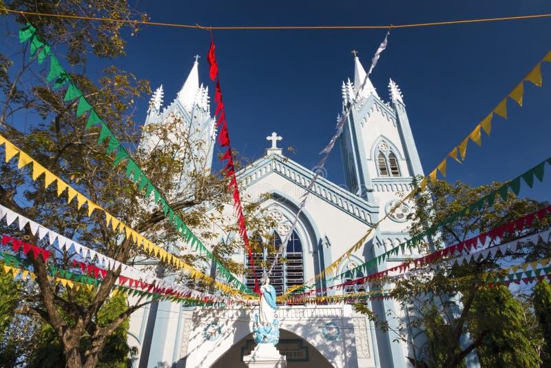 Cattedrale di immacolata concezione durante il tempo di Chritmas fotografia stock