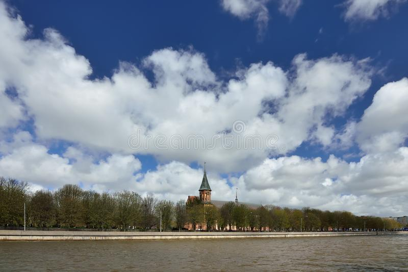 Cattedrale di Konigsberg sull'isola di Kneiphof Kaliningrad, precedentemente Koenigsberg, Russia fotografie stock libere da diritti