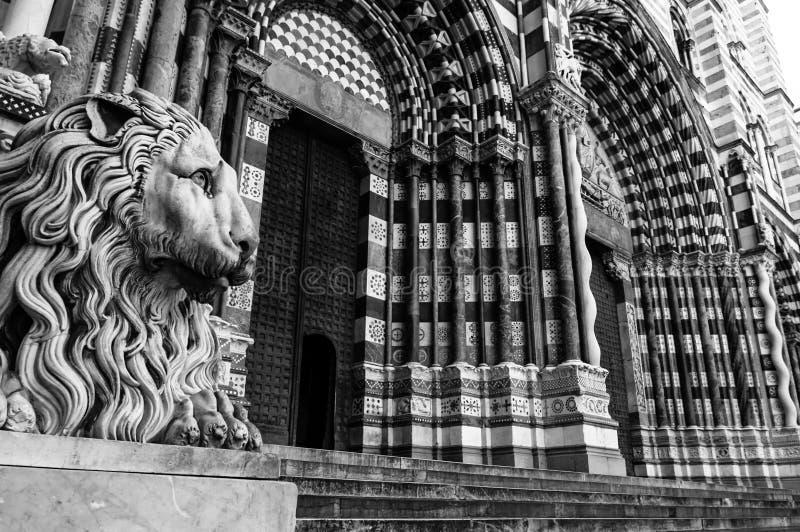 Cattedrale di Lawrence del san a Genova Italia immagine stock libera da diritti
