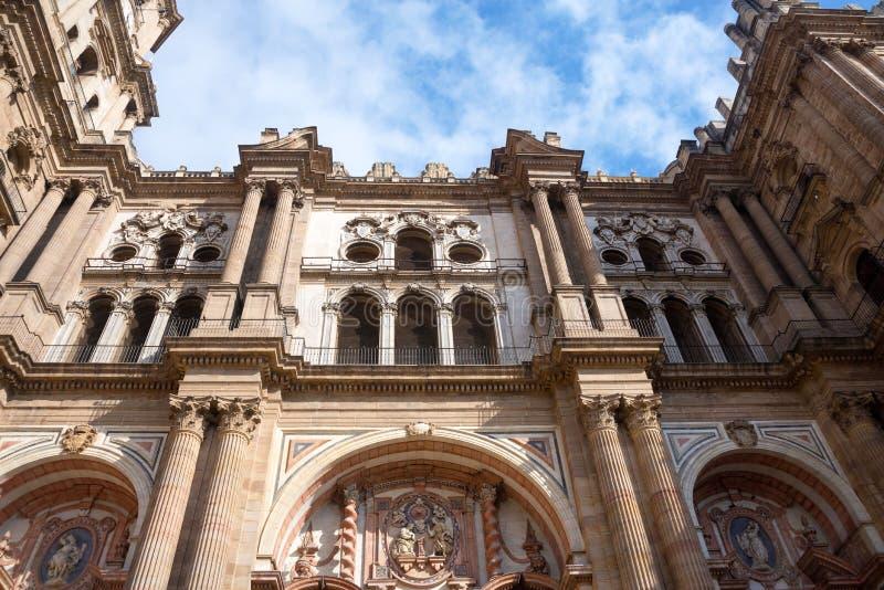 Cattedrale di Malaga, Spagna Vecchie viste delle pareti di pietra fotografia stock