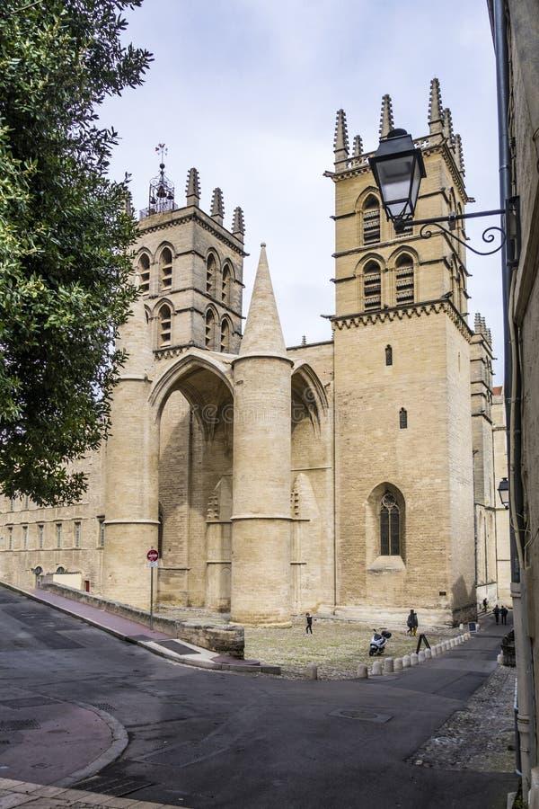 Cattedrale di Montpellier, correttamente il Saint Pierre de M di Cathedrale immagini stock libere da diritti