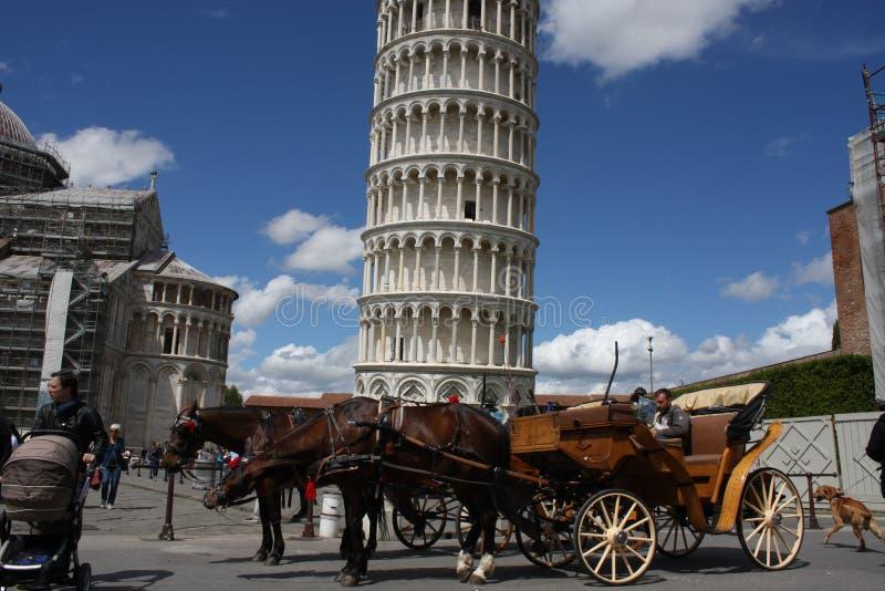 Cattedrale di Pisa e della torre pendente un giorno soleggiato luminoso a Pisa, fotografia stock libera da diritti