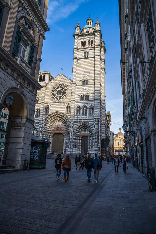 Cattedrale di Saint Lawrence, Cattedrale di San Lorenzo Genoa, Italia fotografia stock