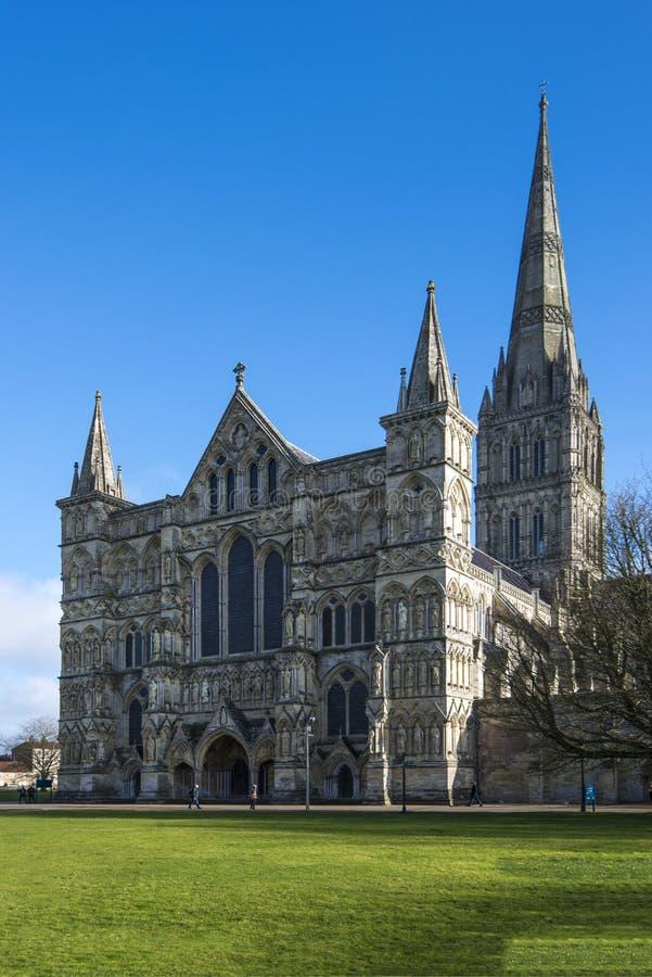 Cattedrale di Salisbury, Wiltshire, Inghilterra - dettaglio anteriore con la guglia famosa fotografia stock libera da diritti