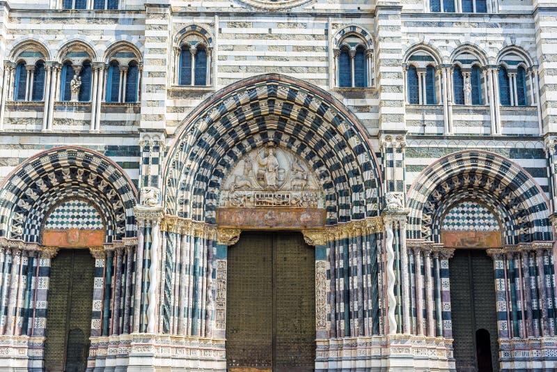 Cattedrale di San Lorenzo di Genova La Liguria, Italia fotografia stock libera da diritti