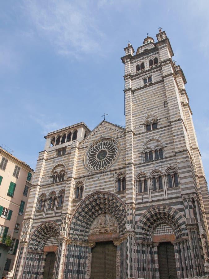 Cattedrale di St Lawrence a Genova fotografie stock