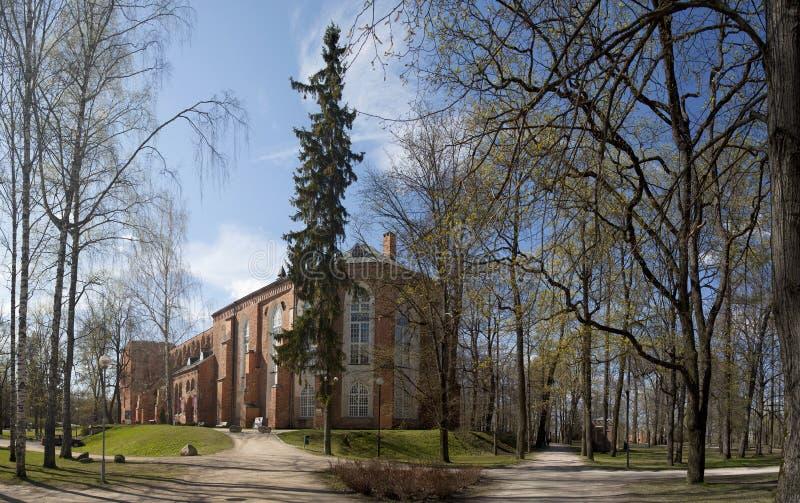 Cattedrale di Tartu ed il parco sulla collina di Toome fotografia stock libera da diritti