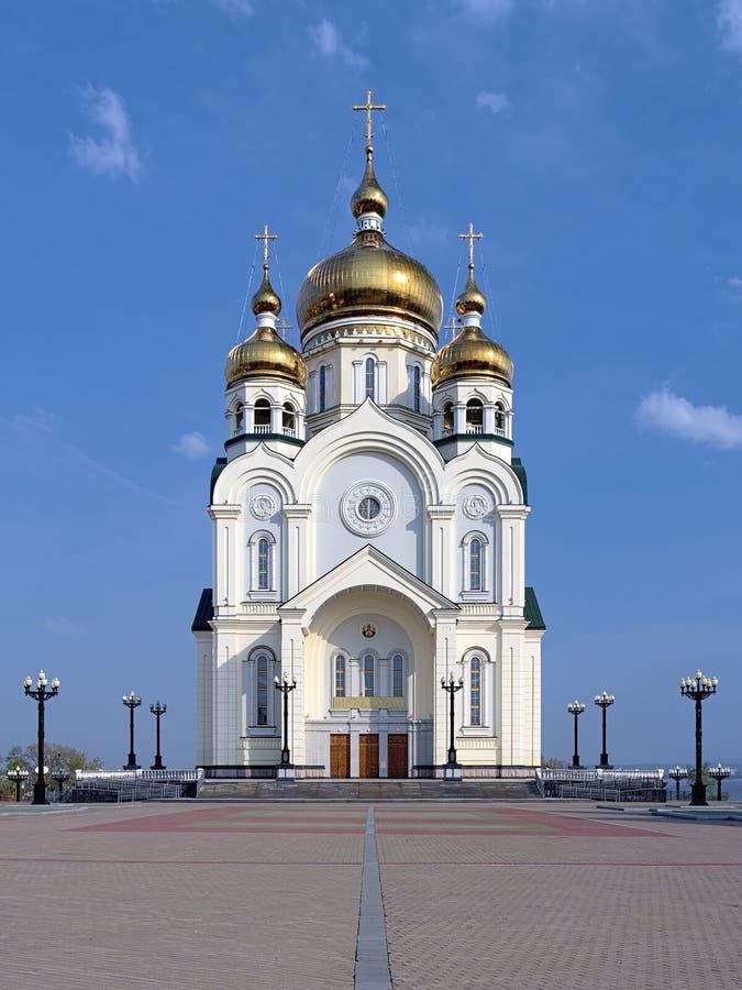 Cattedrale di trasfigurazione in Chabarovsk, Russia fotografie stock