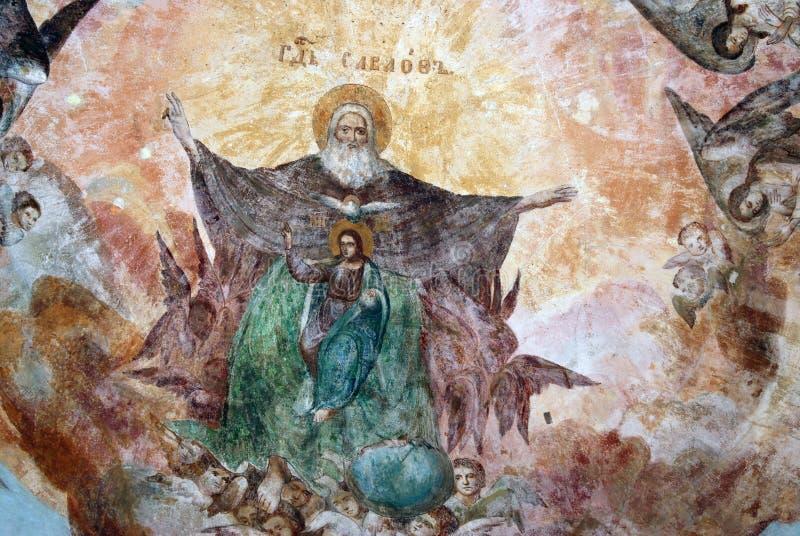 Cattedrale di trasfigurazione in Cremlino di Uglic, Russia Icona sul soffitto immagini stock libere da diritti