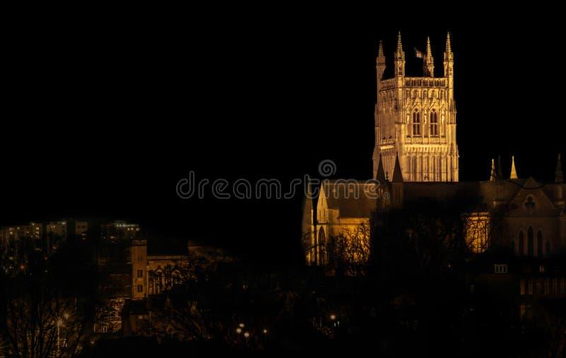 Cattedrale di Worcester di notte fotografia stock