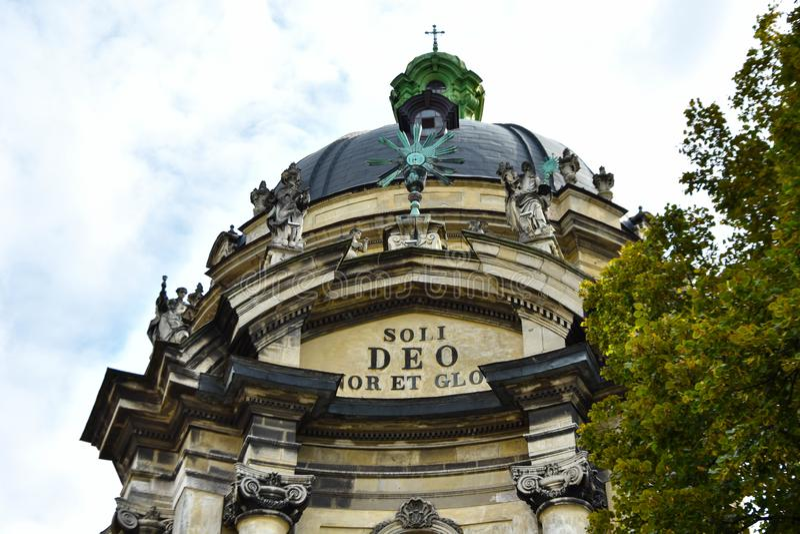 Cattedrale domenicana `Soli Deo Honor et Gloria` fotografie stock libere da diritti