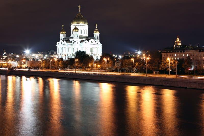 Cattedrale famosa e bella di vista di notte di Jesus Christ il salvatore fotografie stock libere da diritti