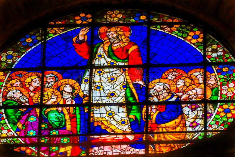 Cattedrale Florence Ital di Jesus Mary Disciples Stained Glass Duomo fotografie stock