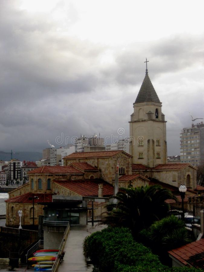 Cattedrale a Gijon, Spagna fotografia stock libera da diritti