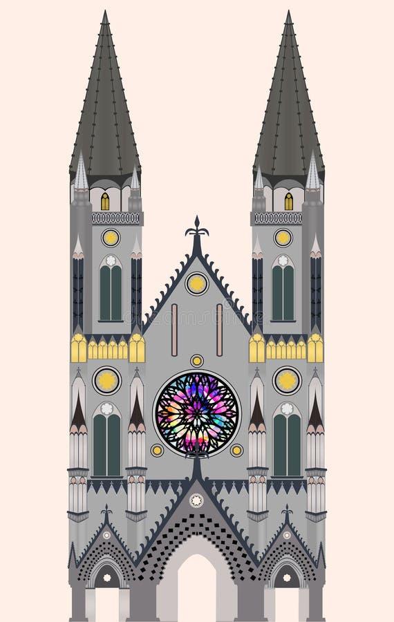 Cattedrale gotica, chiesa gotica, tempio gotico immagine stock