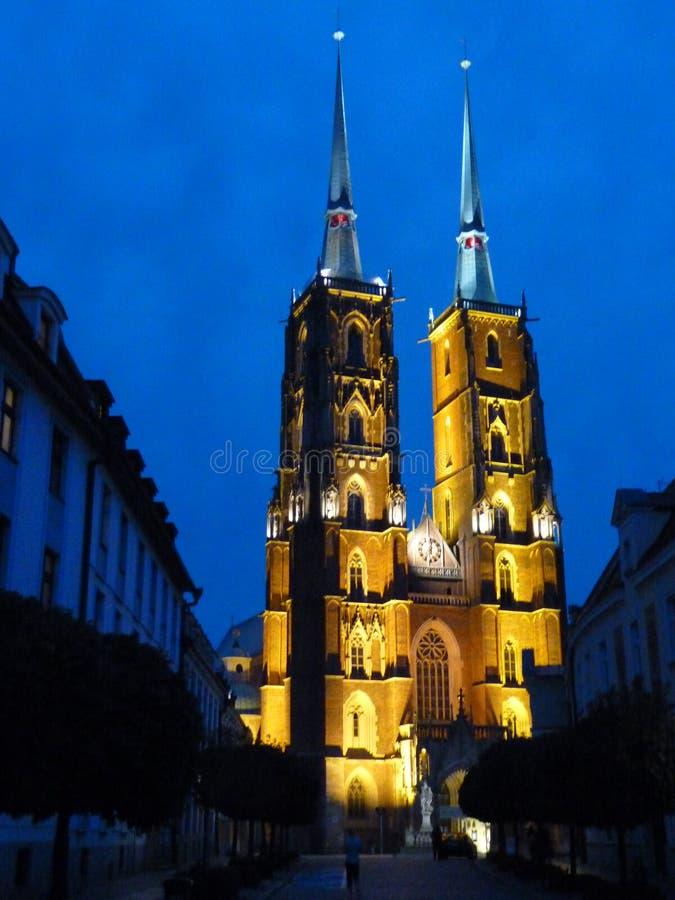 Cattedrale gotica di St John il battista sull'isola di Tumski Seat di Roman Catholic Archdiocese di Wroclaw e di uno dei famose fotografie stock libere da diritti