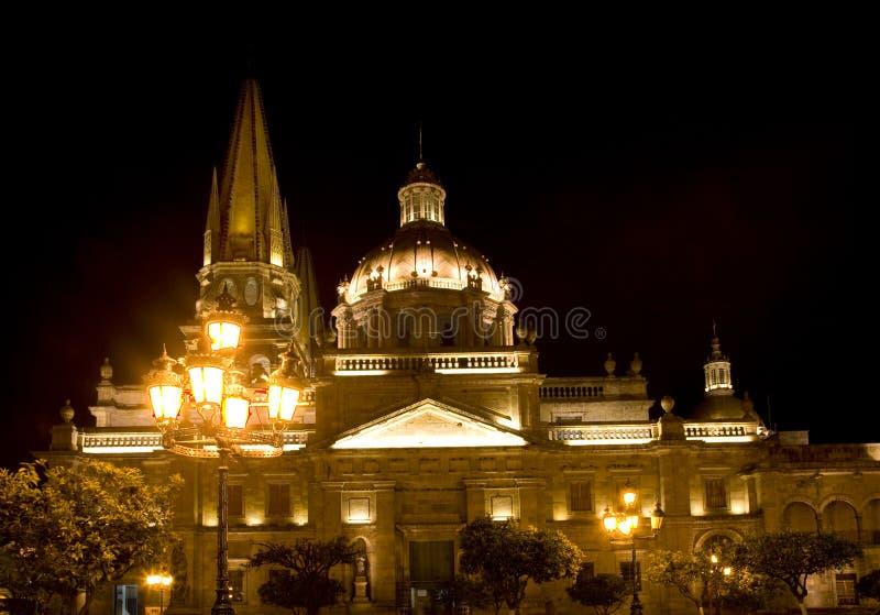 Cattedrale Guadalajara Messico alla notte immagini stock