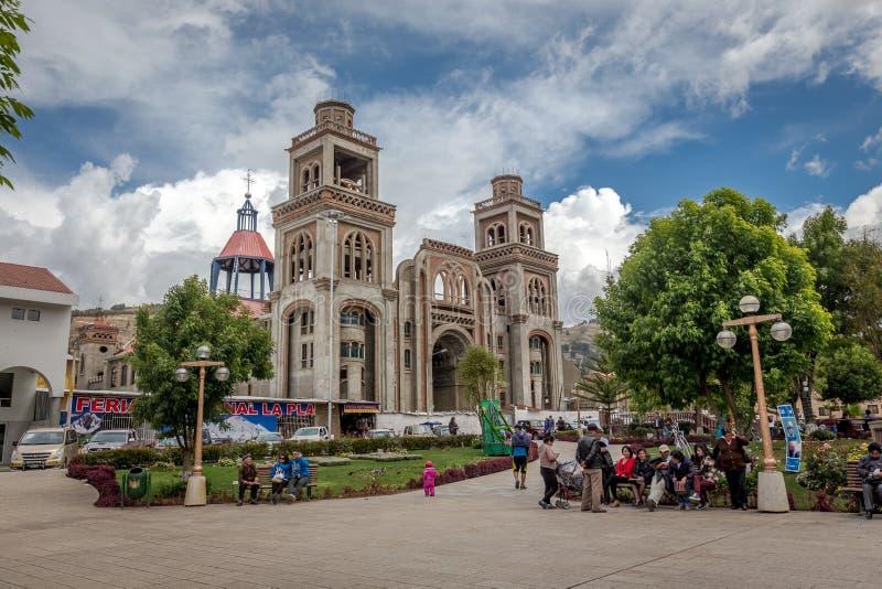 Cattedrale in Huaraz, Perù, Sudamerica fotografia stock libera da diritti