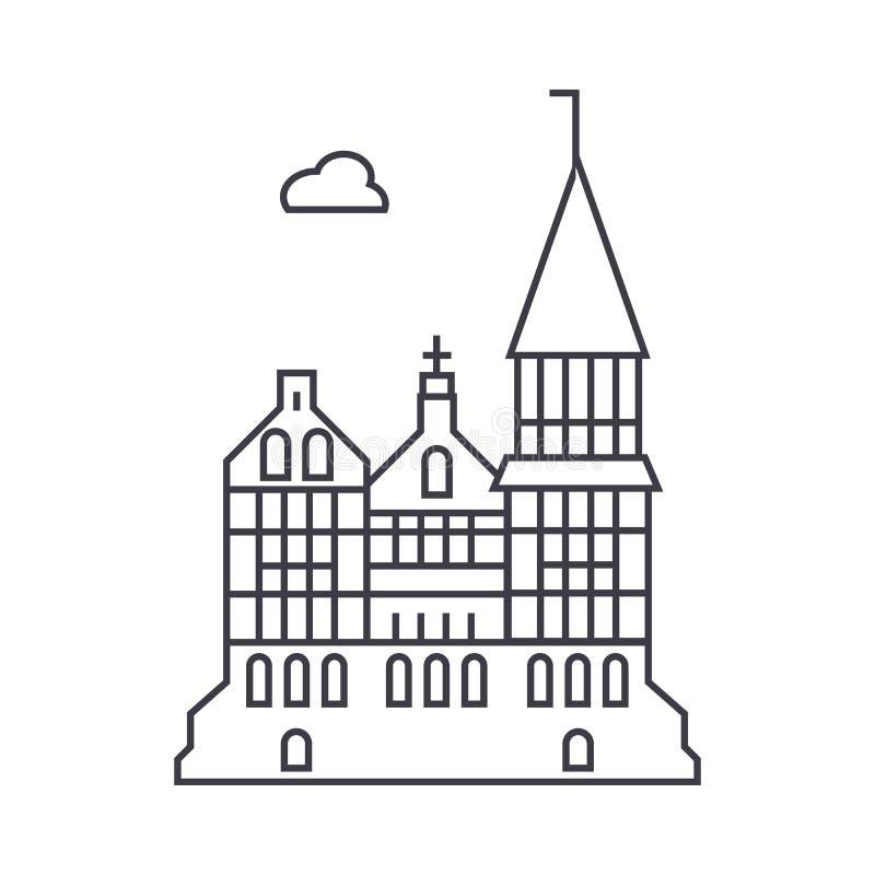 Cattedrale, linea gotica icona, segno, illustrazione di vettore della chiesa su fondo, colpi editabili illustrazione di stock