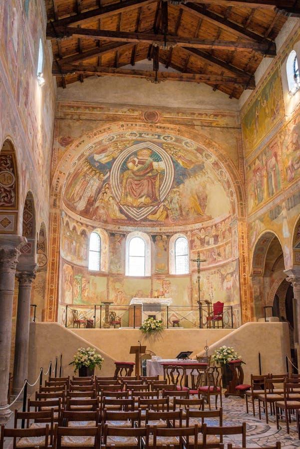 Cattedrale medievale di Chioggia, monumenti degli affreschi, agosto 2016 fotografia stock