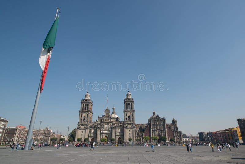 Cattedrale metropolitana de la ciudad de Messico sul quadrato di Zocalo fotografia stock libera da diritti