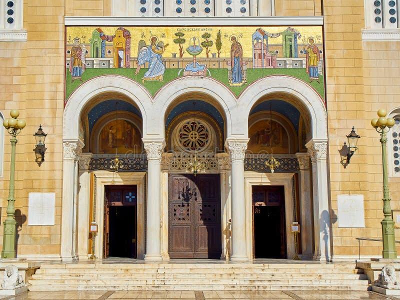 Cattedrale metropolitana dell'annuncio, Mitropoli Quadrato di Metropoleos Atene, Grecia fotografie stock