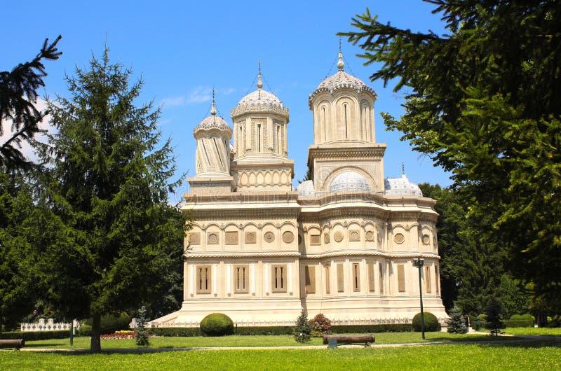 Cattedrale ortodossa di presupposto, Curtea de Arges, Valacchia, romana immagine stock libera da diritti