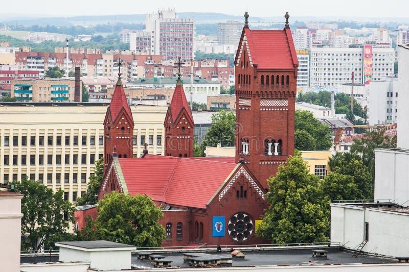 Cattedrale rossa situata sul quadrato di indipendenza a Minsk fotografia stock