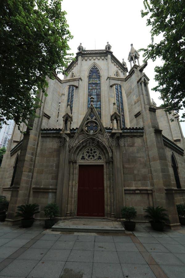 Cattedrale sacra 7 Guangdong - Cina laterali posteriori del cuore di Canton immagine stock libera da diritti