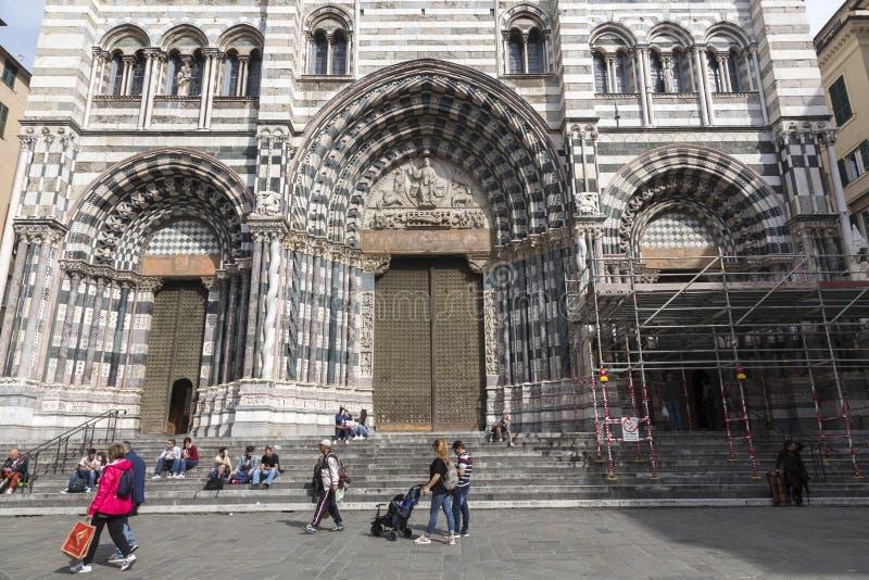 Cattedrale Saint Lawrence in Genoa Italy fotografia stock libera da diritti