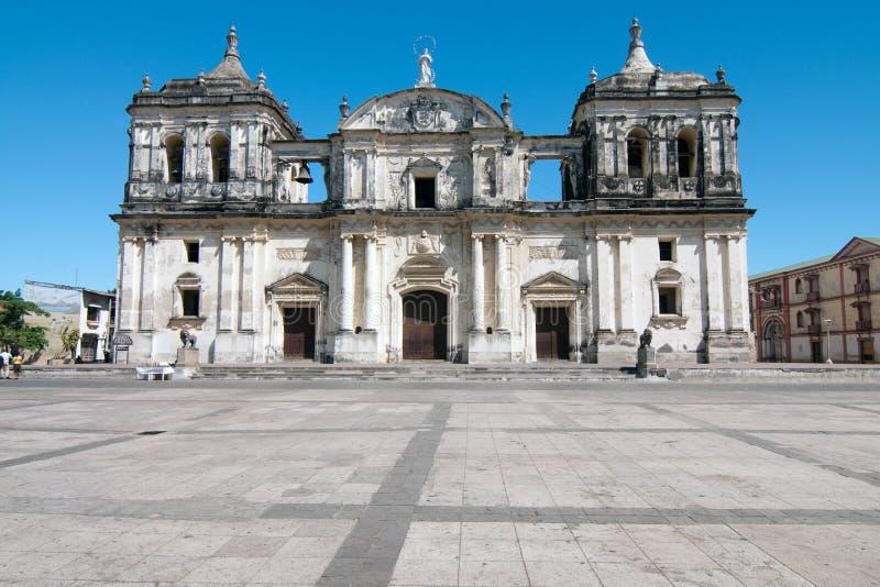 Cattedrale storica a Leon fotografie stock libere da diritti