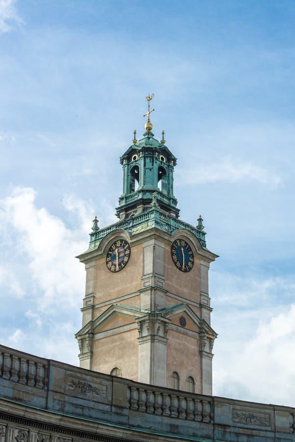 Cattedrale Storkyrkan, Stoccolma della torre fotografia stock libera da diritti