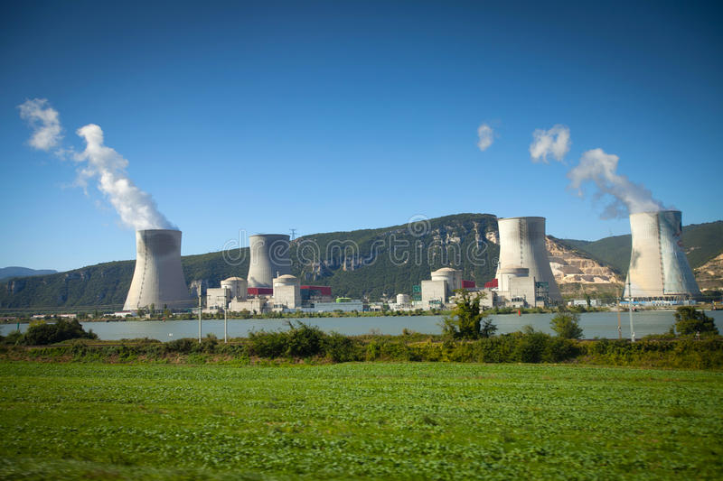 Cattenom Nuclear Power Plant - France. Looking across the Moselle River at the four pressurized water reactors of the Cattenom Nuclear Power Plant in Lorraine stock images