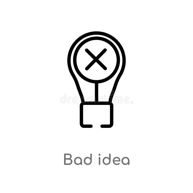 cattiva icona di vettore di idea del profilo linea semplice nera isolata illustrazione dell'elemento dal concetto dell'interfacci illustrazione vettoriale